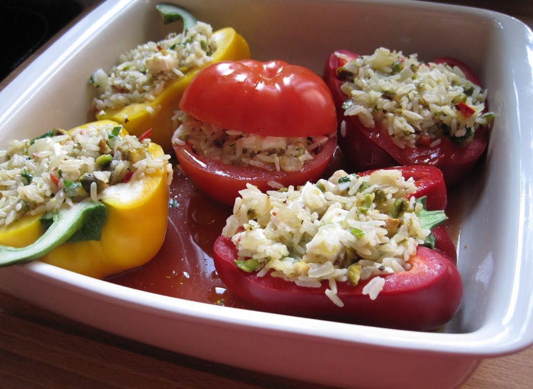 Stuffed tomatoes and peppers ready for the oven