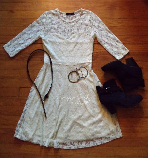 OOTD - Beige dress, boots, silver bracelets, and a black belt.