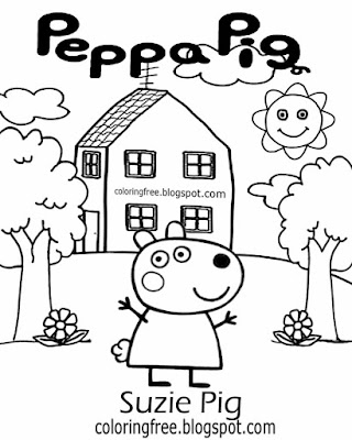 English TV cartoon kids clipart drawing ideas Suzie Pig Peppa pig printable basic coloring pictures