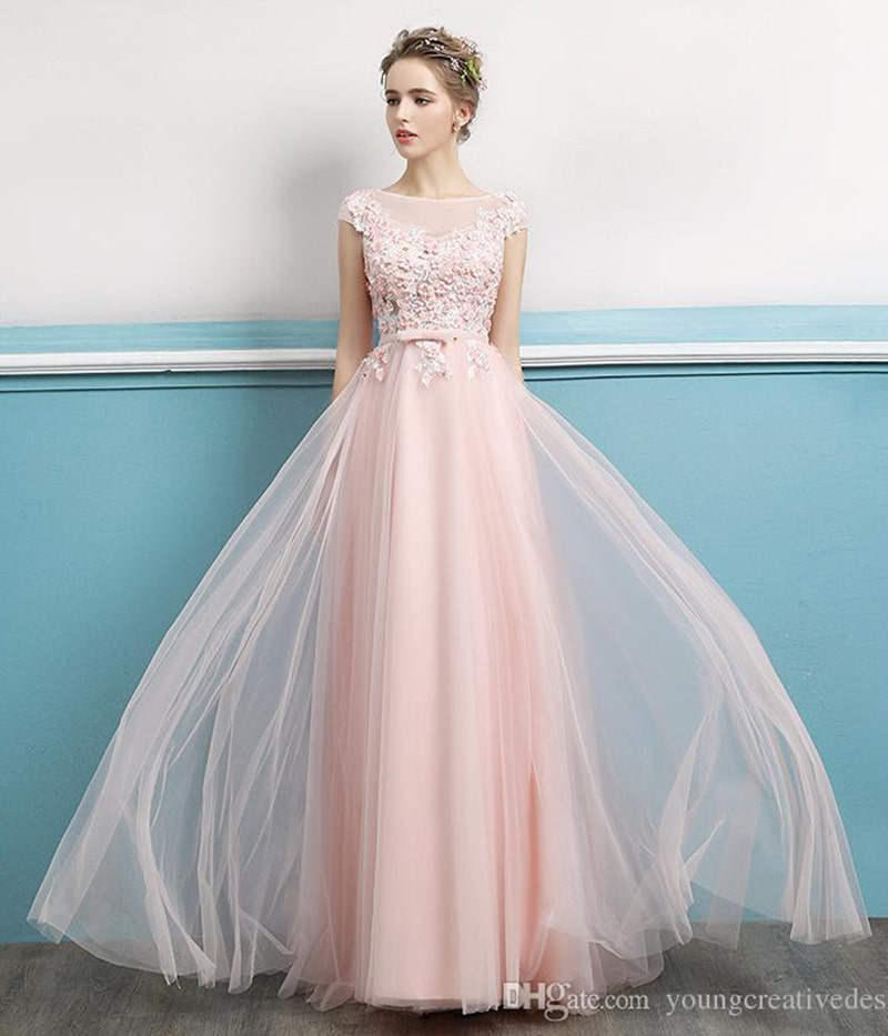 The new long slim pink elegant ladies dinner gowns hosted by the annual party evening dress, free shipping