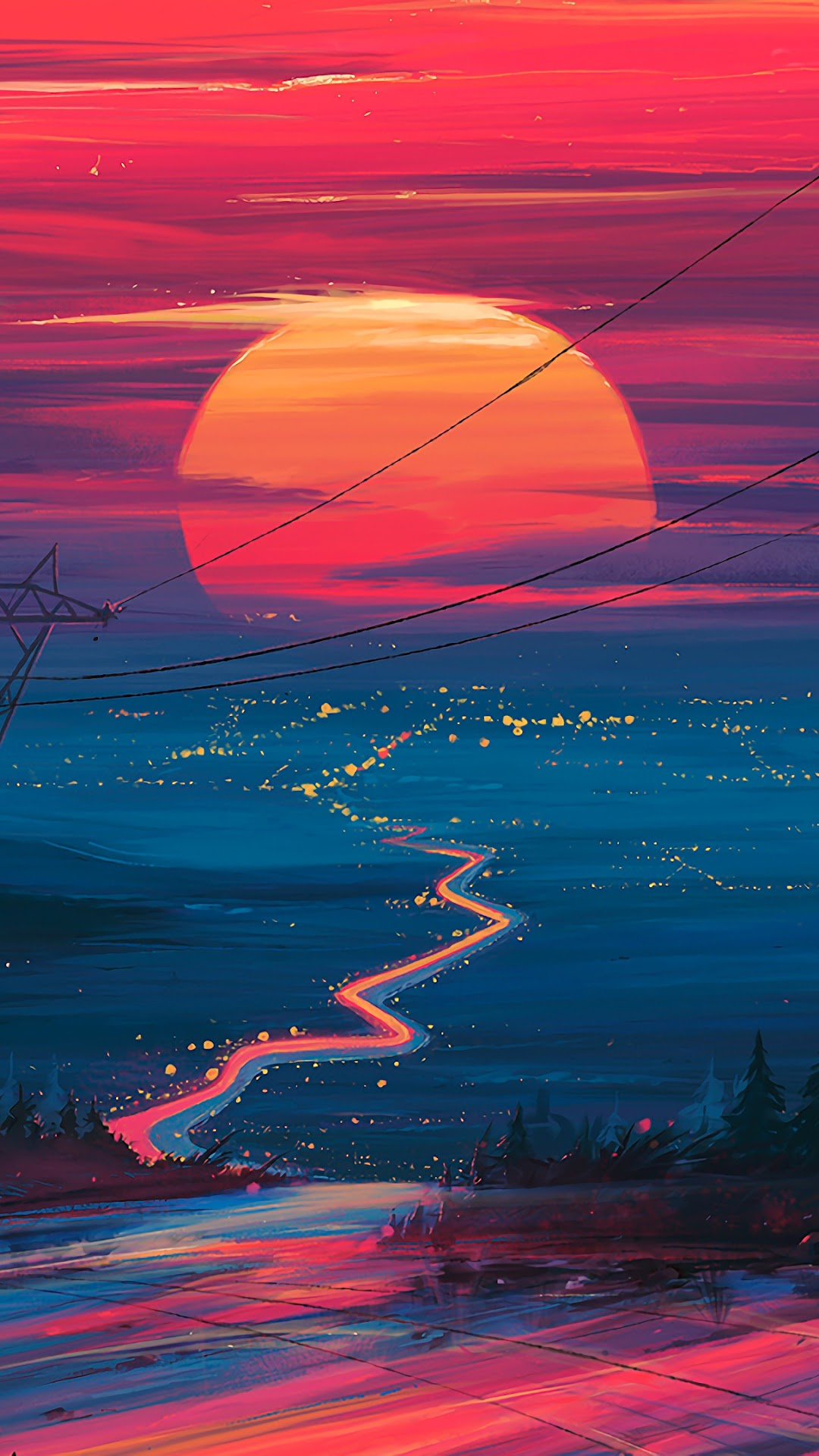 sunset horizon scenery landscape art uhdpaper.com 4K 178