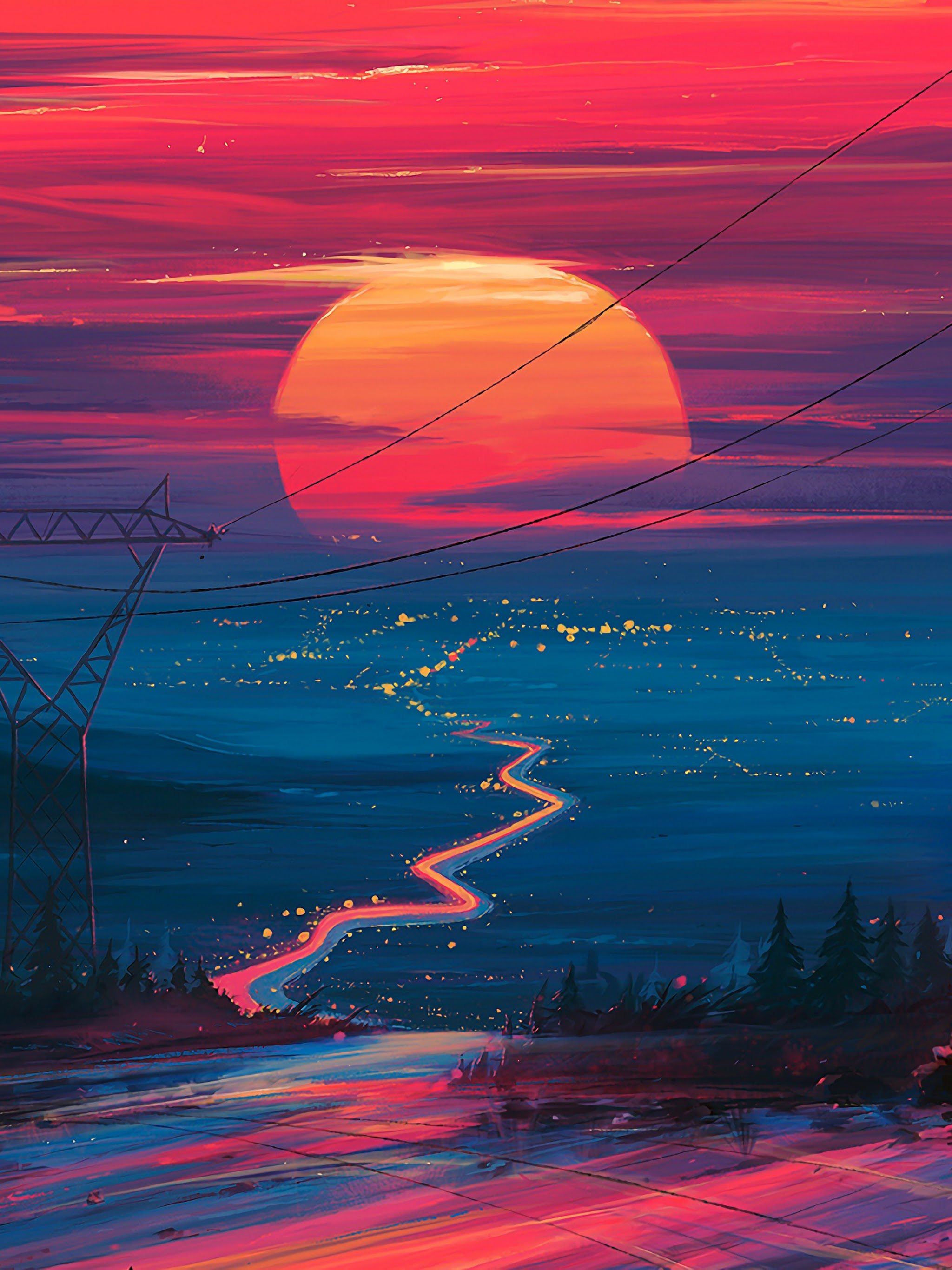 Sunset Horizon Scenery Landscape Art 4k Wallpaper 178