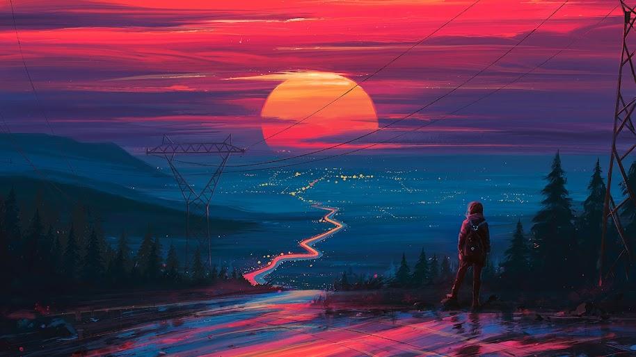 Sunset, Horizon, Scenery, Landscape, Art, 4K, #178