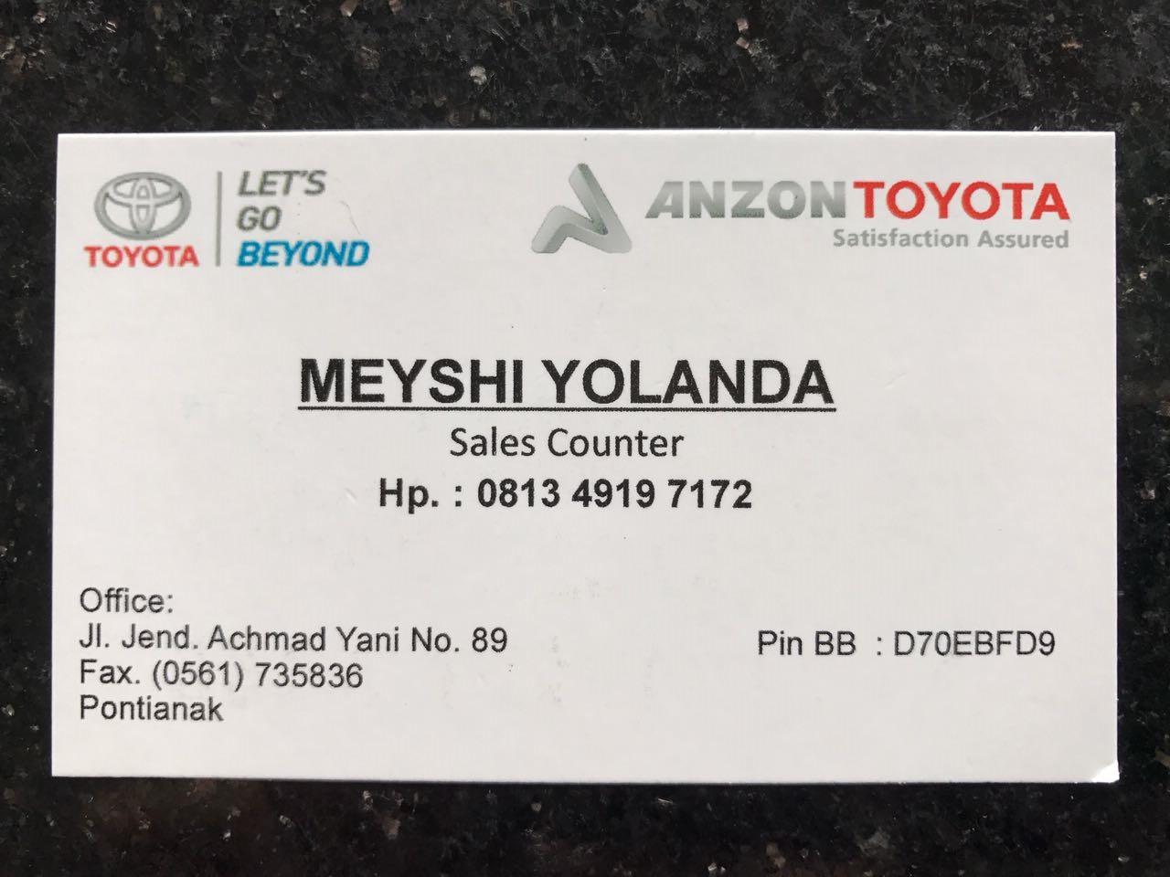 Meyshi Yolanda sales counter Toyota Pontianak
