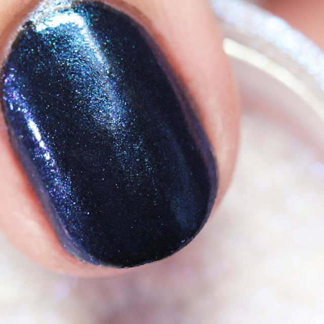 Girly Bits SFX Duo-Chrome Powder Lust over black polish