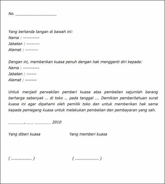 Contoh surat kuasa pembelian barang