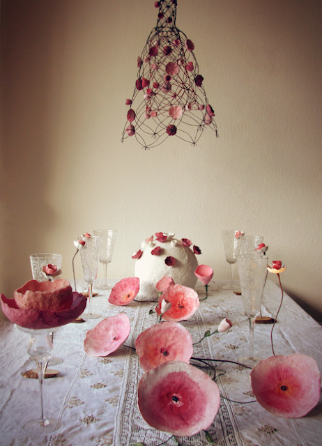 Lampadario in macramè e decorazioni per matrimoni, eventi green