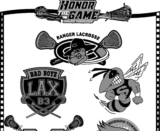 Back of the Tshirt Sponsor List logo design for Honor the Game lacrosse event