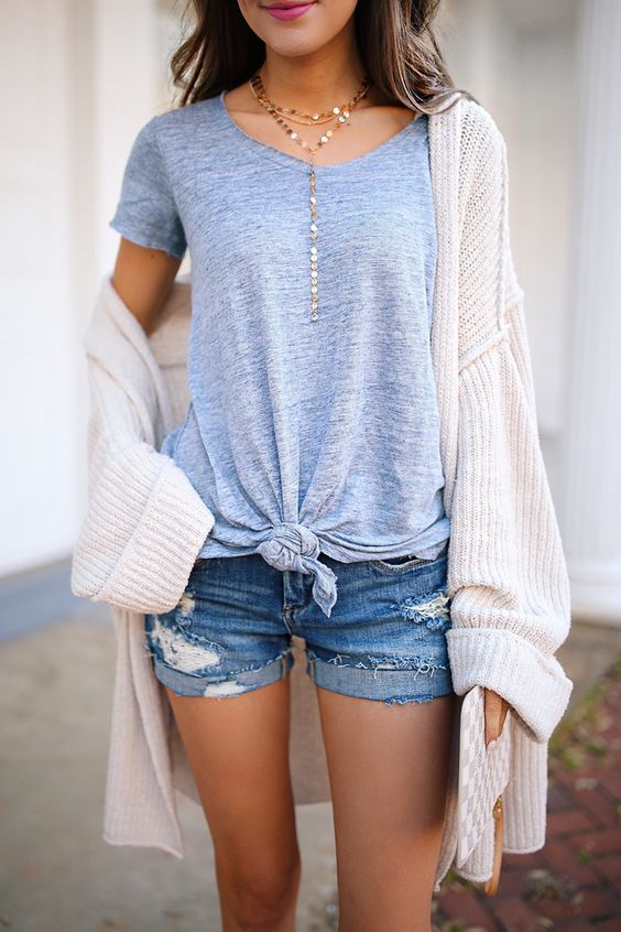 casual style addiction / knit cardigan + tee + denim shorts