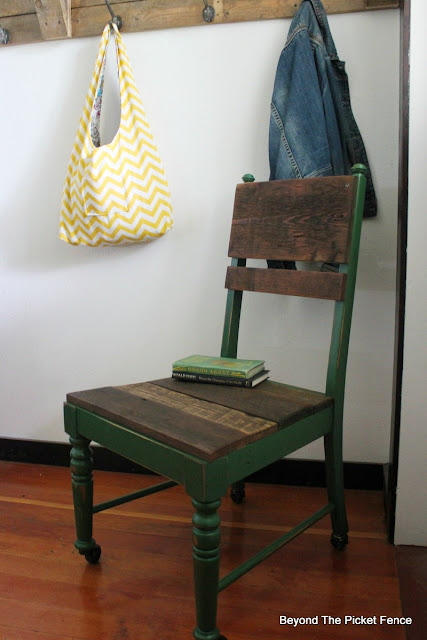 use paint and barnwood to give an old kitchen chair a rustic farmhouse look