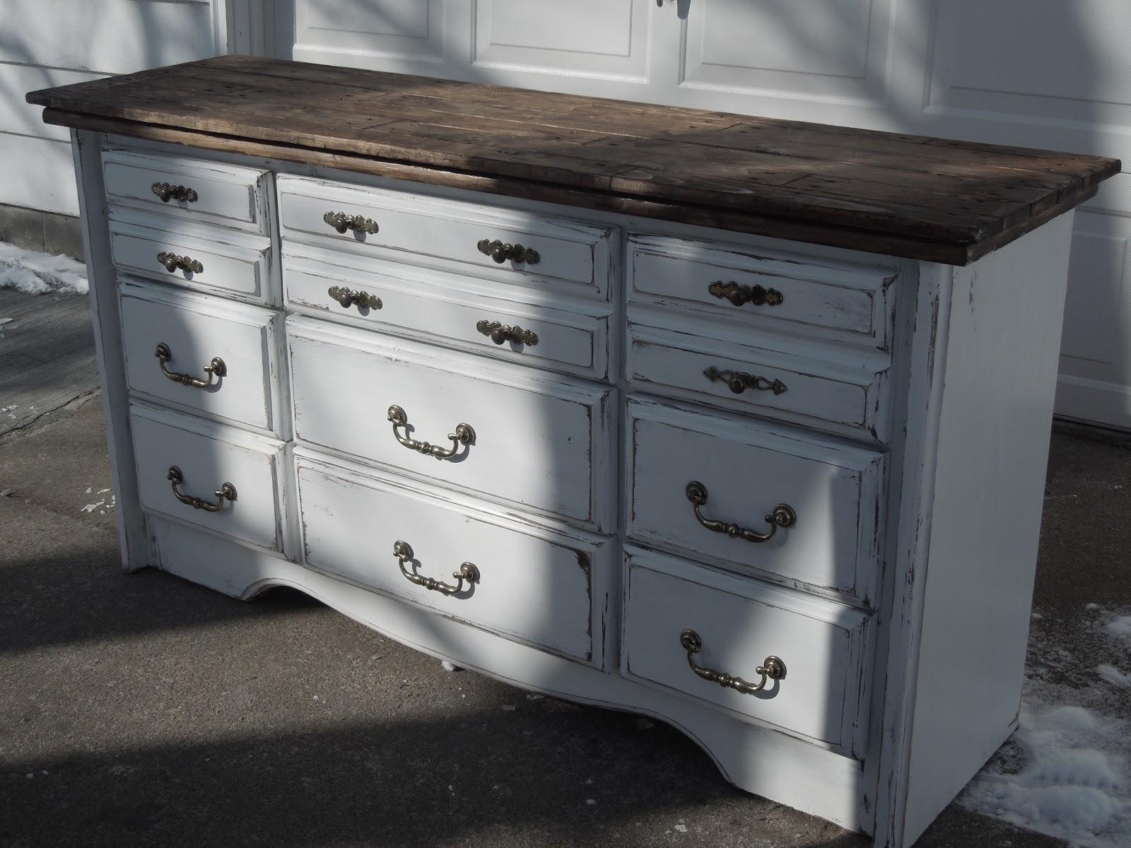Tattered Lantern Large white distressed 9 drawer dresser