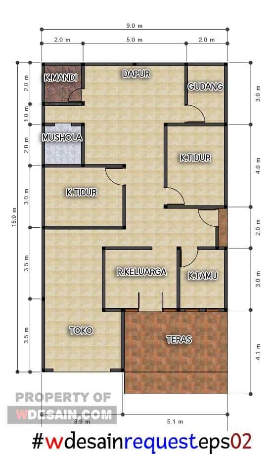 denah rumah minimalis 1 lantai 3 kamar tidur dan mushola