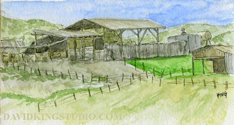 art sketch pen watercolor coalville utah farm barn ranch