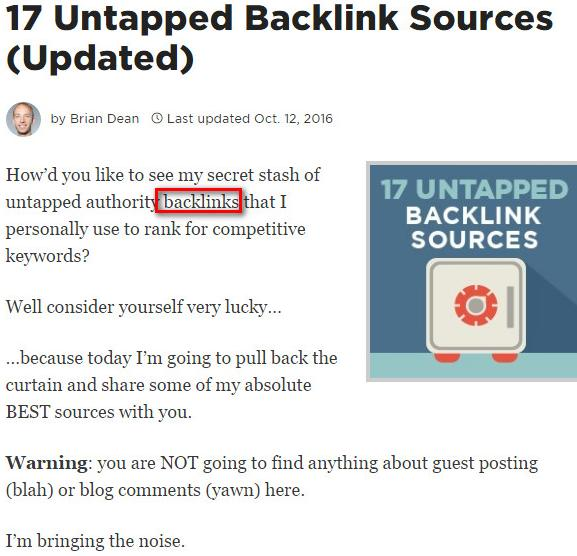 The First few Paragraphs example of backlinko
