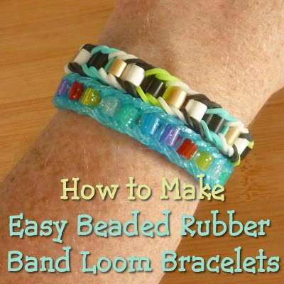 Beaded bracelet designs made with colorful rubber bands