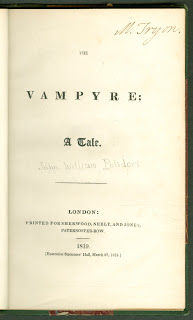 "A title page for Polidori's ""The Vampyre."""