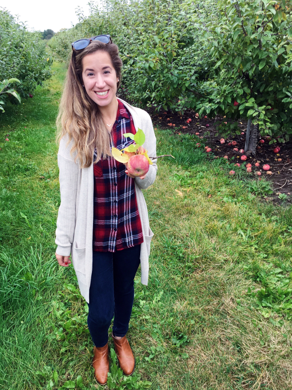 Beige Cardigan, Red Plaid Shirt, Blue Denim, Congac Booties - Fall 2017 Apple Picking Outfit, Apple Picking Look