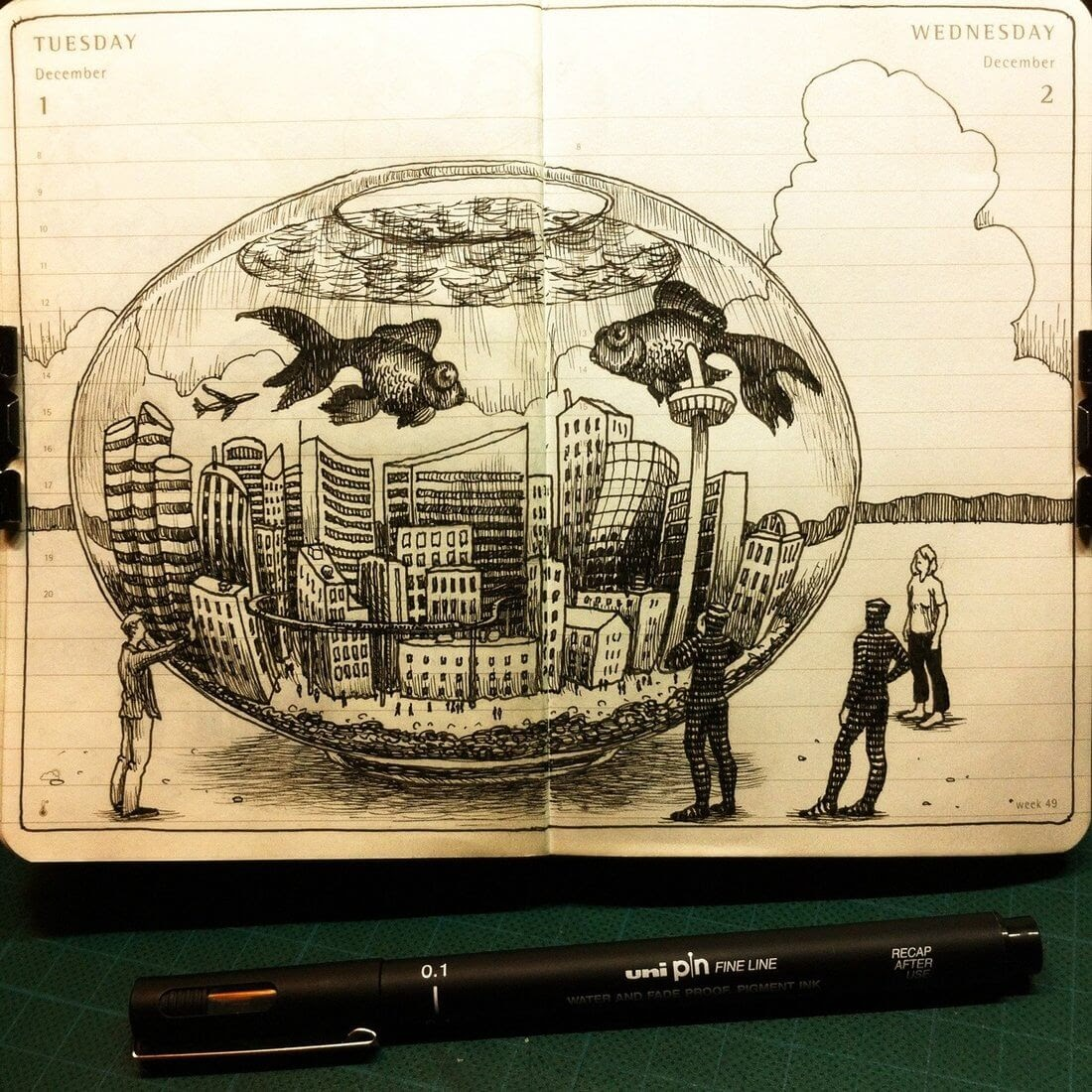 01-Living-in-a-Fish-Bowl-Nina-Johansson-Moleskine-Diary-of-Surreal-Ink-Drawings-www-designstack-co