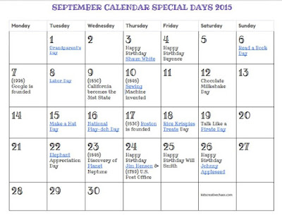 September Printable Calendar Special Days 2015