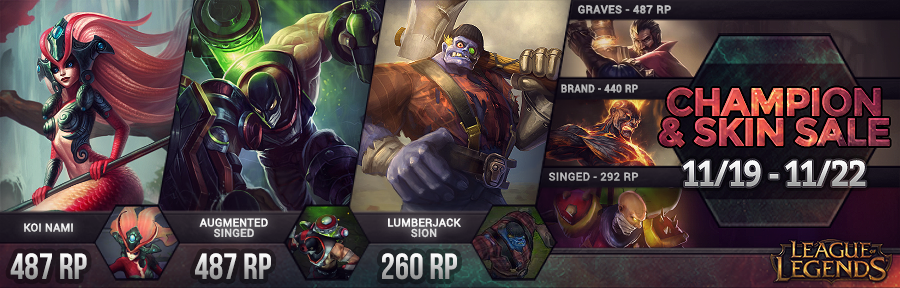 złapać Data wydania wykwintny styl Surrender at 20: New Champion and Skin Sale 11/19 - 11/22