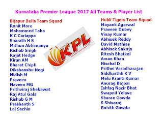 Karnataka Premier League 2017 All Teams & Player List,KPL 2017 All team squad & player list,Karnataka Premier League 2017 schedule,Karnataka Premier League 2017 time table,kpl teams,Bijapur Team Squad,Belagavi Team Squad,Shivamogga Team Squad,Mysuru Team Squad,Mangalore Team Squad,Ballari Team Squad,Hubli Team Squad,Bengaluru Team Squad,all player list,team squad,kpl 2017 all player list,sold palyer,highest sold,Karnataka Premier League 2017,ipl player Bijapur Bulls Team Squad   Ronit More,  Mohammed Taha,  K C Cariappa,  Sharath H S,  Mithun Abhimanyu,  Rishab Singh,  Rajat Hedge,  Kiran AM,  Bharat Chipli,  Dikshanshu Negi,  Nidish M,  Praveen,  Naveen MG,  Prithviraj Shekawat,  Raj Atul Gala,  Rishab G M,  Prashanth S,  Lal Sachin.  Hubli Tigers Team Squad   Mayank Agarwal,  Praveen Dubey,  Vinay Kumar,  Abhisek Reddy,  David Mathias,  Abhisek Sakuja,  Ritesh Bhatkal,  Aman Khan,  Nischal D,  Prithvi Varadharajan,  Siddharthh K V,  Melu Kranti Kumar,  Anurag Bajpai,  Ishfaq Nazir Bhat,  Swapnil Yelave,  Sharan Gowda,  S Shivaraj,  Rohith Gowda.  Belagavi Panthers Team Squad   Mir Kaunain Abbas,  K Gowtham,  Manish Pandey,  Stuart Binny,  S Arvind,  Satish Bharadwaj,  Anand Doddamani,  Shubang Hegde,  Bharath K N,  Shashindra K,  Stalin Hoover,  Sharath BR,  Sunil Kumar Jain,  Avinash D,  Nitin Bhille,  Akshay C K,  Rakshit S,  Darshan Machaiah.  Ballari Tuskers Team Squad   Sai Shiv Narayan,  Anil I G,  Devdutt Padikal,  Nishant Singh Shekavat,  Abhinav Manohar,  Bhavesh Gulecha,  Zeeshan Ali Sayyed,  Rohan Kadam,  Dinesh Borwankar,  Zahoor Farooqui,  Kunal Kapoor,  Daivik Vishwanath,  Gautham Sagar.    Mangalore United Team Squad  Karun Nair,  Ronit More,  BN Bharath,  Mitrakant Yadav,  Bhat,  Ballal,  Brar,  Avinash,  Bhareth,  Mash,  Mitrakant,  Muhafiz A Khader,  Nihal Shilar,  Nishith N,  Pradeep,  Praveen,  Rahul,  Rohan,  Rohit,  Shishir,  Moinuddin,  Udit.  Mysuru Warriors Team Squad   Karun Nair,  Shreyas Gopal,  Vyshak V,  Suchith J,  Suneel Raju,  Vineet Yadav,  Kushal Wadhwani,  Shivil Kaushik,  Arjun Hoysala,  Prateeksh R,  Manjunath S P,  Bhareth NP,  Srijith K L,  Avinash K C,  Akshay S L,  Nikith S,  Ram Sarikh Yadav,  Vikas Kumar Sinha.  Namma Shivamogga Team Squad   Anirudh Joshi,  Abrar Kazi,  Pradeep T,  Akhil Balachandra,  Mohd. Sarfaraz Ashraf,  Vinoo Prasad,  Amey Shanbag,  Jonathan Rongsen,  Liyan Khan,  Abdul Majid,  Saksham Kaul,  Shoaib Manager,  Chiranjeevi G S,  Sadiq Kirmani,  Nihal Ullal,  Lavish,  Aditya Somanna,  Mashooq Hussain.  Kalyani Bengaluru Blasters Team Squad   Samarth R,  Pavan Deshpande,  Mitrakanth Yadav,  Shishir Bhavane,  Prasidh M Krishna,  Pranav Bhatia,  Sinan Abdul Khader,  Jeshwanth Acharya,  Manjesh Reddy,  Shivam Mishra,  Rajoo Bhatkal,  Vishwanathan M,  Abhisek Bhat,  Rohan Raju,  Koushik V,  Varun Pandit,  Nikin Jose,  Sharath Srinivas.