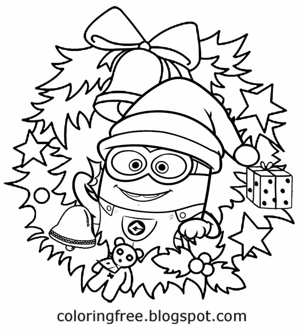 kids winter holiday cartoon santa easy stuff to color for christmas minion drawing sheet holly reef - Kids Drawing Sheet