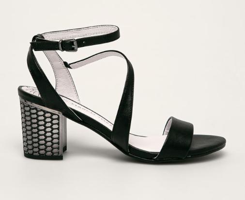 Marco Tozzi - Sandale negre de zi cu tocul gros