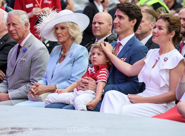 Prince Charles and Duchess Camilla, Canadian Prime Minister Justin Trudeau and his wife Sophie Gregoire and their children, Hadrien, Ella-Grace and Xavier Trudeau