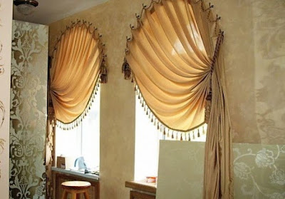 modern beige and brown curtains for arch window treatments