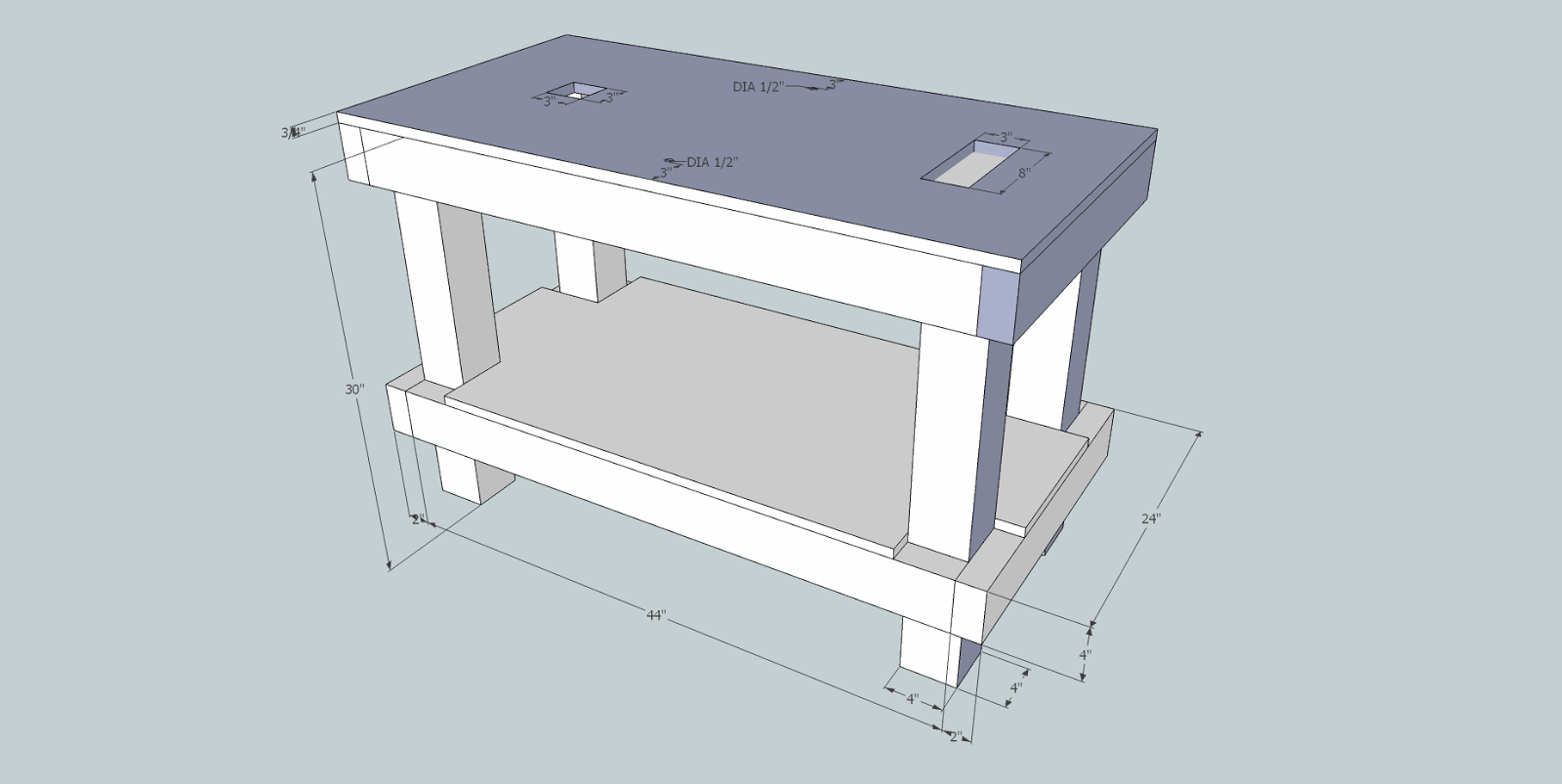 Anything The Work Table Is No Exception Here S A Sketchup Plan Of My Design That I Tinkered With Until Had Most Elements Worked Out