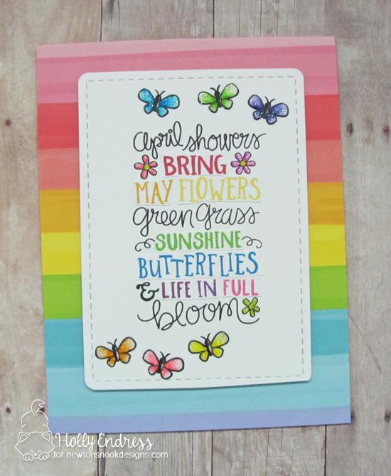 Spring Card by Holly Endress | April Showers Stamp Set by Newton's Nook Designs #newtonsnook #handmade