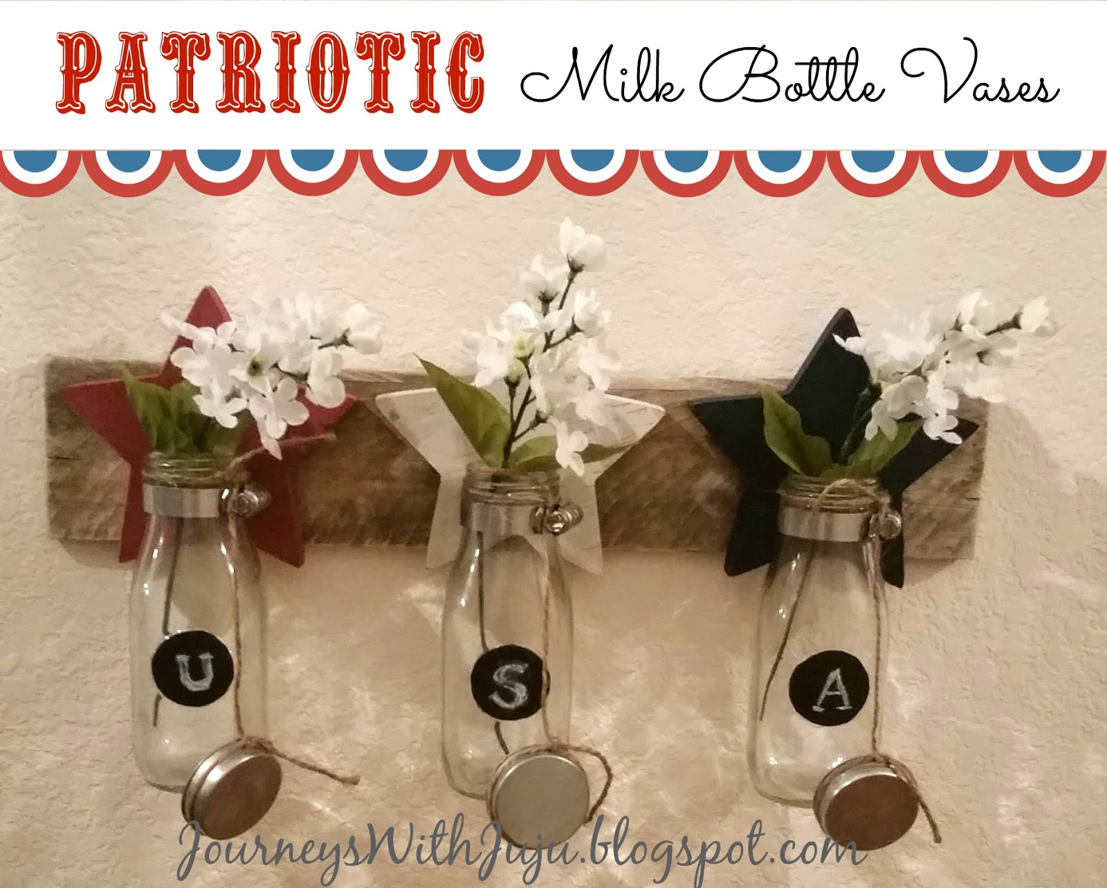 Pastel dipped milk bottle vases crafthubs journeys with juju patriotic milk bottle vases reviewsmspy