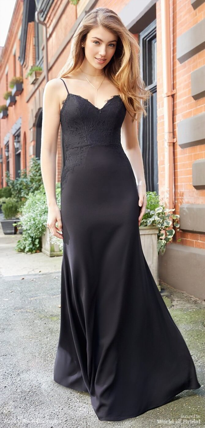 Hayley Paige Occasions Spring 2018 Black crepe A-line bridesmaid gown