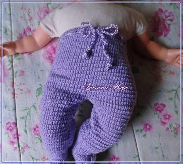 calça de lã com pezinho para bebês