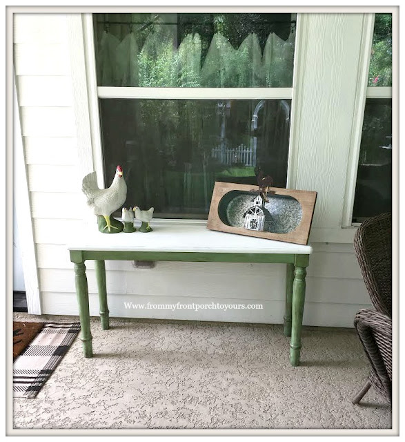 Ikea Table Makeover-Cottage Style-Farmhouse Style-Green-DIY-Patio Decor-From My Front Porch To Yours
