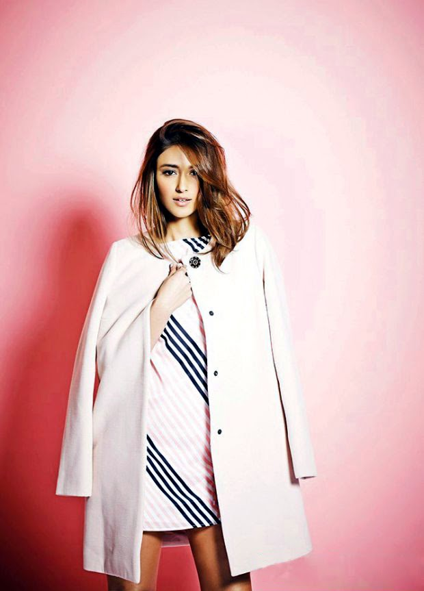 Ileana D'Cruz in white mini-dress with pink overcoat