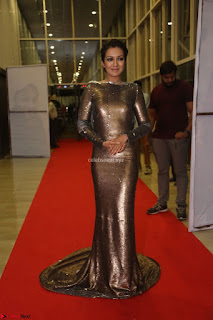 Actress Catherine Tresa in Golden Skin Tight Backless Gown at Gautam Nanda music launchi ~ Exclusive Celebrities Galleries 107.JPG