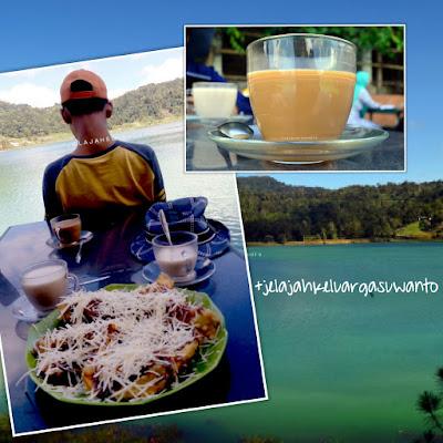 Menikmati pisang keju dan kopi di Danau Linow, Tomohon, Sulawesi Utara +jelajahsuwanto