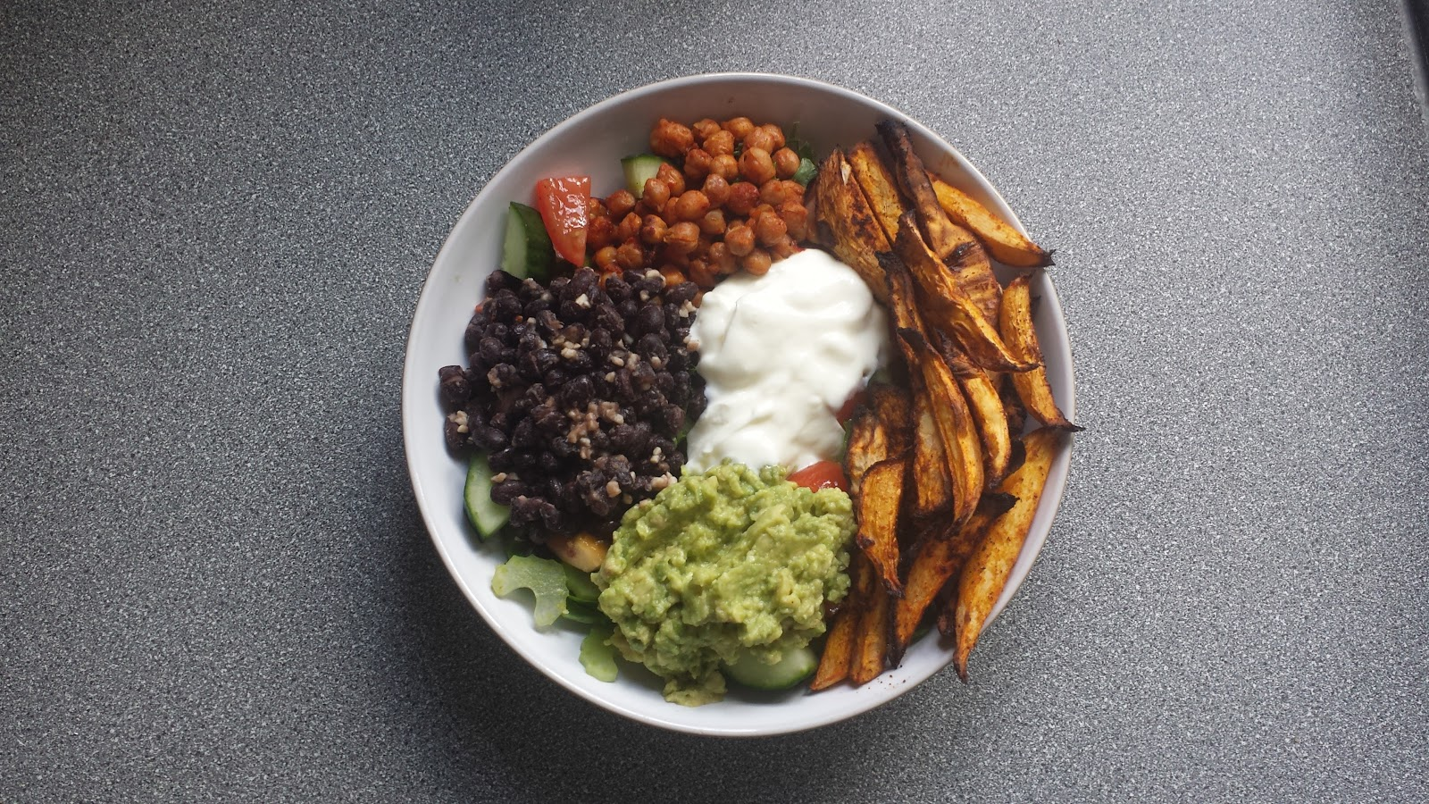Swede Fries, Guacamole, Chickpeas and Garlic Black Beans