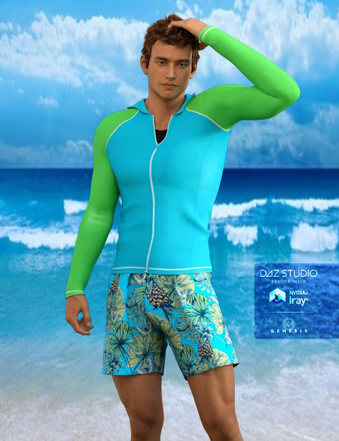 H/C Rash Guard Outfit for Genesis 3 Male