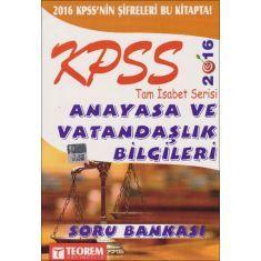 Teorem KPSS Anayasa ve Vatandaşlık Bilgileri Soru Bankası (2016)