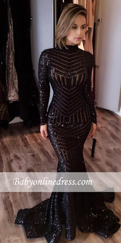 Sexy Black Mermaid High Neck Evening Gowns Long-Sleeves Sequined Prom Dress
