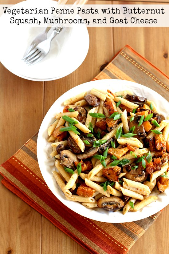 Vegetarian Penne Pasta with Butternut Squash, Mushrooms, Scallions, and Goat Cheese found on KalynsKitchen.com