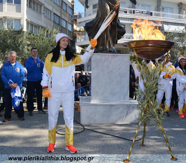 Η Ολυμπιακή Φλόγα στην Κατερίνη.
