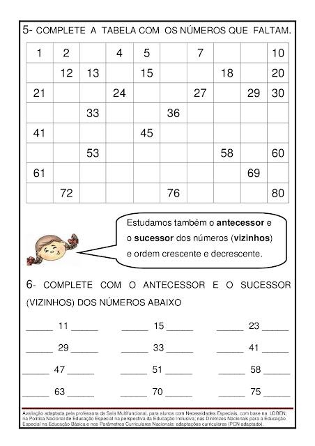 Avaliação de Matemática Adaptada 3º ano