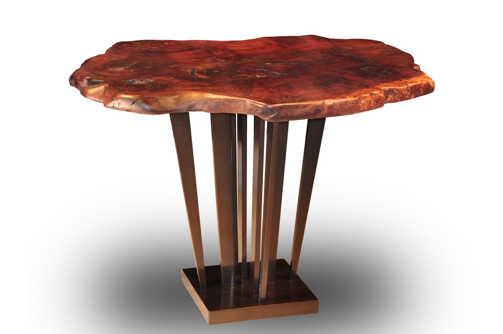 Claro Walnut Burl Slab Tree Trunk Table With Sunshine Bronze Pedestal Base
