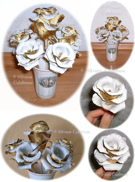 Crepe paper. Golden roses, antique effect