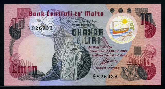 Malta currency 10 Maltese liri banknote
