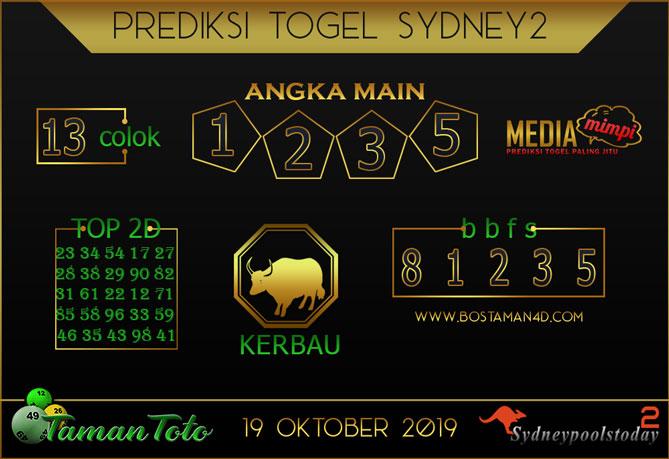Prediksi Togel SYDNEY 2 TAMAN TOTO 19 OKTOBER 2019