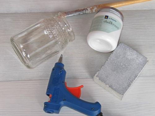 Materiales para hacer Tarros decorados con calk paint